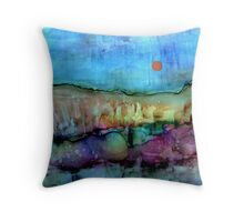Copper Moonrise ~ Alcohol Ink ~ Inkscape Throw Pillow