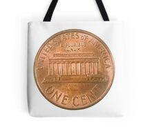 US one penny coin (one cents) isolated on white background  Tote Bag
