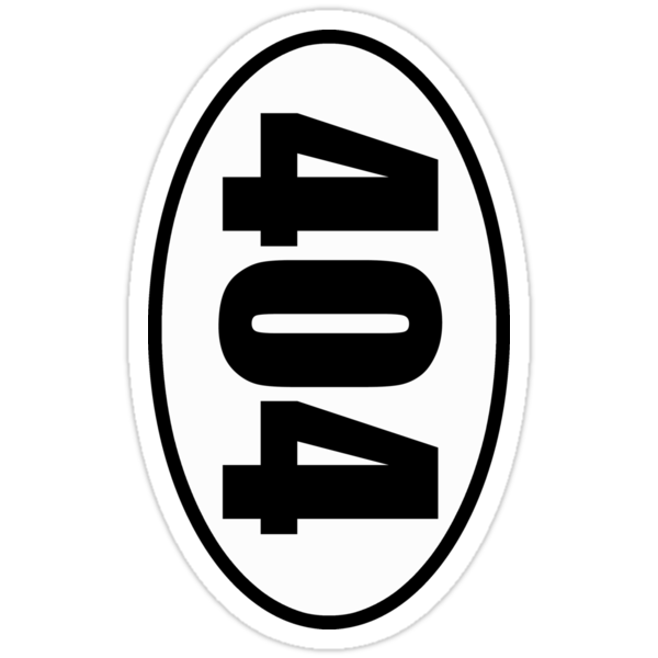 404 Not Found Error - European Style Oval Country Code Sticker by fohkat