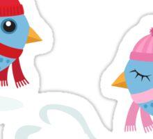 Love birds in the snow cute cartoon stickers Sticker