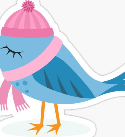 Cute cartoon bird with pink hat and scarf stickers Sticker