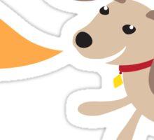 Little brown dog with woof speech bubble Sticker