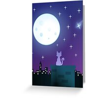 Cat Under The Moonlight Greeting Card