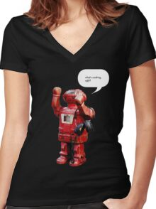 Bibot Robot- what's cooking ugly? Women's Fitted V-Neck T-Shirt
