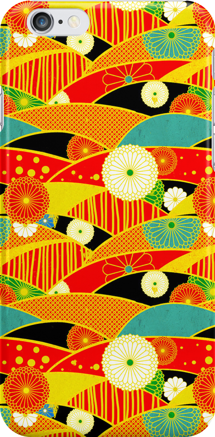 Chiyogami Crimson & Carrot [iPhone / iPod Case and Print] by Damienne Bingham