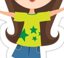 Cute, happy cartoon girl sticker Sticker