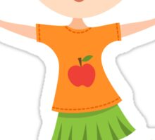 Cute cartoon girl with pigtails Sticker