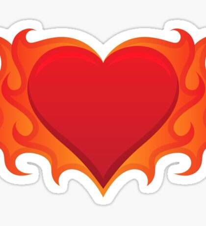 Burning heart with flames, red hot love Sticker