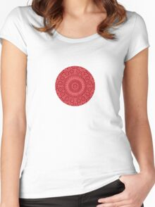 small red chakra mosaic circle girly Women's Fitted Scoop T-Shirt