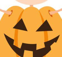 Halloween girl in pumpkin costume sticker Sticker