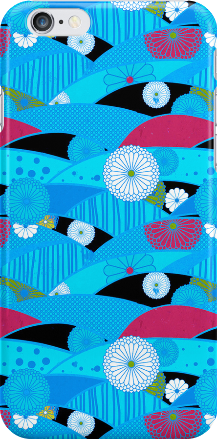 Chiyogami Aqua & Cerise [iPhone / iPod Case and Print] by Damienne Bingham