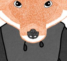 Illustration/Digital artwork of a fox that is wearing a two toned grey hoody Sticker