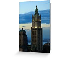 Aerial view of Manhattan buildings from Wall street building rooftop Greeting Card