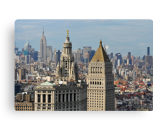 Aerial view of Manhattan buildings from Wall street building rooftop Canvas Print