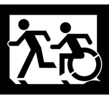 Accessible Means of Egress Icon and Running Man Emergency Exit Sign, Left Hand Sticker