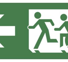 Accessible Means of Egress Icon and Running Man Emergency Exit Sign, Left Hand Arrow Sticker