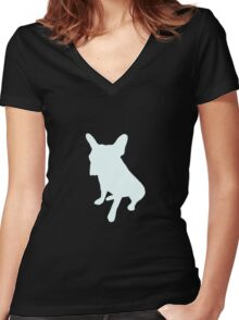 Frenchie Tee Women's Fitted V-Neck T-Shirt