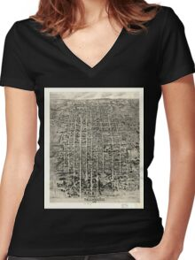 Panoramic Maps Aero-view of Tallahassee 1926 Women's Fitted V-Neck T-Shirt