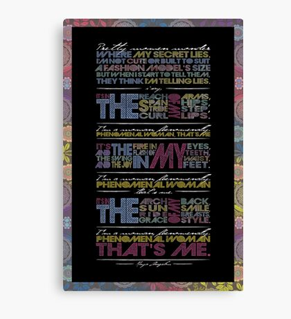 Phenomenal Woman By Maya Angelou - Typographic Poster Canvas Print
