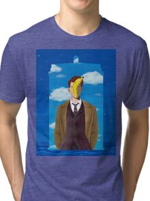 TARDIS and Ten in Magritte style Tri-blend T-Shirt