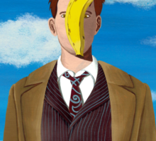 TARDIS and Ten in Magritte style Sticker