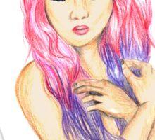 Floral Pink hair Sticker