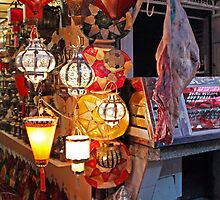 Lanterns and Meat, Marrakesh Morocco by Debbie Pinard