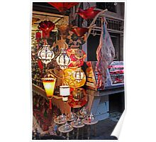 Lanterns and Meat, Marrakesh Morocco Poster