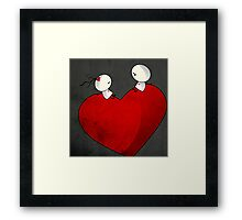 Sitting on a big & Lovely Red Heart - T-Shirt Framed Print