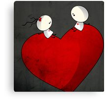 Sitting on a big & Lovely Red Heart - T-Shirt Canvas Print