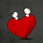 Sitting on a big & Lovely Red Heart - T-Shirt by Media Jamshidi