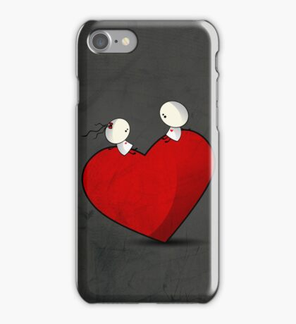 Sitting on a big & Lovely Red Heart - T-Shirt iPhone Case/Skin