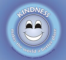 Kindness Makes The World a Better Place - Blue Sticker by RippleKindness