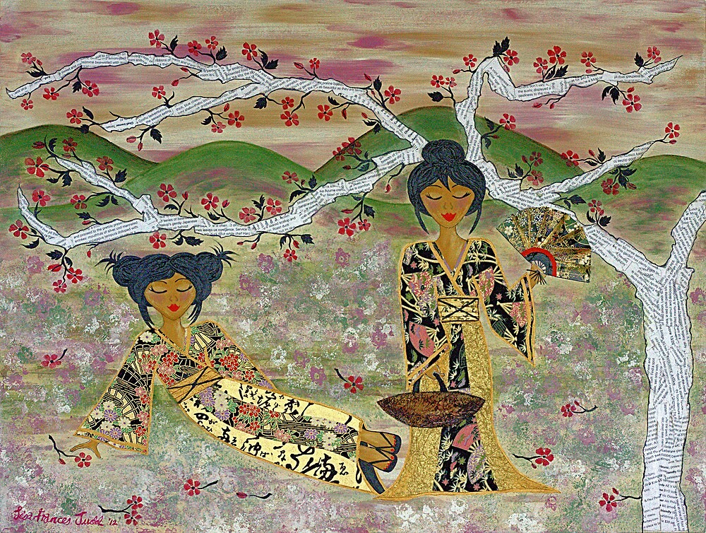 Japanese Sisters ~ tranquility garden by Lisa Frances Judd~QuirkyHappyArt