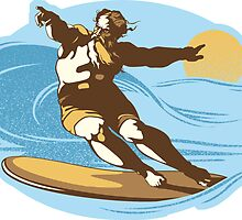 God Surfed Sticker by Tom Burns
