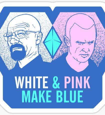 White & Pink Make Blue Sticker Sticker