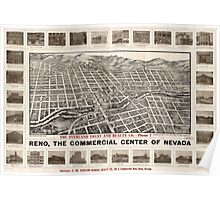 Panoramic Maps Reno the commercial center of Nevada Poster