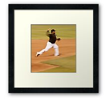 Pablo Sandoval in Motion.. Throwing to First Base Framed Print