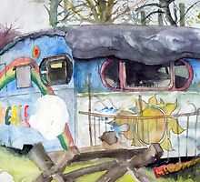 Caravan at Faslane Peace Camp by Mike Crawford