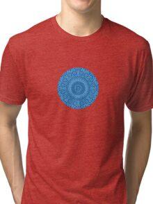 small blue chakra mosaic circle girly Tri-blend T-Shirt