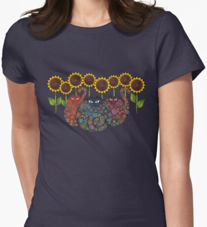 Cats With Sunflowers Womens Fitted T-Shirt