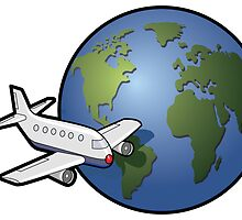 Airplane and Globe by William Fehr
