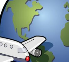Airplane and Globe Sticker