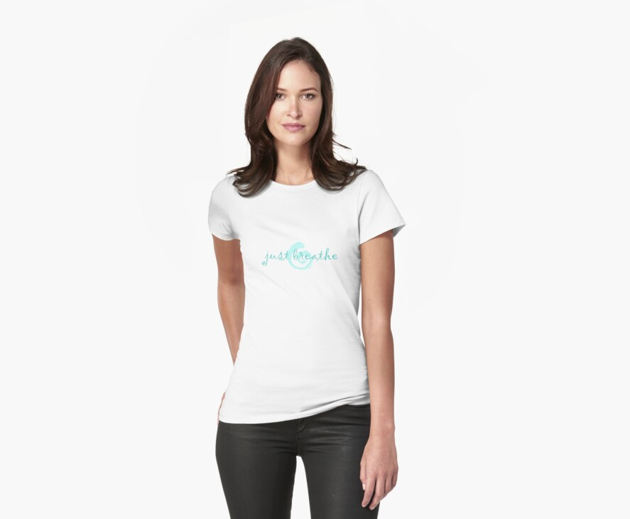 just breathe aqua (light tees & stickers) by offpeaktraveler