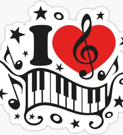 I LOVE MUSIC HEART, Piano, Music Notes, Clef, Bass, Sound Sticker