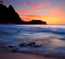 Tunnels Beach Sunset by DawsonImages