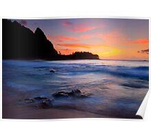 Tunnels Beach Sunset Poster