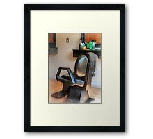 Barber Chair and Hair Supplies Framed Print