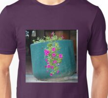 Pink Petunia In Blue Pot Unisex T-Shirt