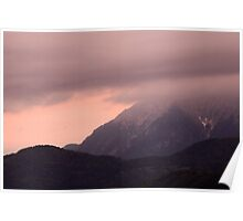 Mountain peak at sunrise Poster